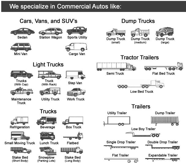Commercial auto truck type vehicles that we insure with DUI Commercial Auto Insurance (888) 287-3449.